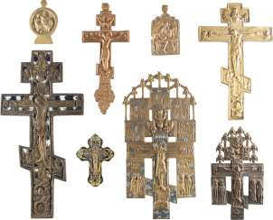 SIX CROSSES AND TWO ICONS WITH REPRESENTATIONS OF SAINTS JOHN THE EVANGELIST AND THE OLD TESTAMENT TRINITY