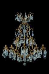 A FRENCH ORMOLU AND ROCK CRYSTAL TEN-LIGHT CHANDELIER