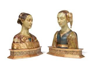 A PAIR OF TERRACOTTA BUSTS OF IPPOLITA MARIA SFORZA AND ANOTHER LADY
