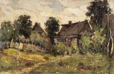 RUSSIAN PAINTER Active around 1915/ 1920 farmhouse with HOMESTEAD