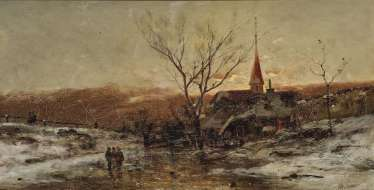 Winter farmstead with figure staffage