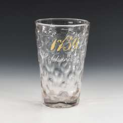 Beer glass with lettering