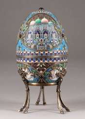LARGE CLOISONNÉ ENAMEL EIDOSE WITH ARCHITECTURAL VIEWS 2nd half of the 20th century silver