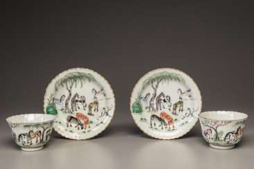 China 20th Century a pair of pink horse painting cup