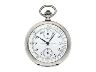 Pocket watch: extremely rare Vacheron & Constantin Tachymeter Chronograph in chronometer quality, No. 94107, Geneva, CA. 1920
