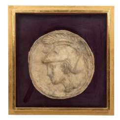 the ANCIENT ARTISTS, relief portrait of a Roman warrior with the feather helmet,