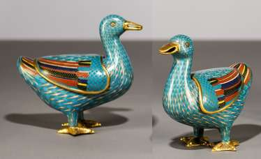 Pair of Cloisonné incense burners in duck shape