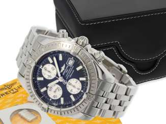 Wrist watch: high quality Breitling steel Chronograph, certified Chronometer reference A13356, Full Set, all papers, chronometer certificate and original box