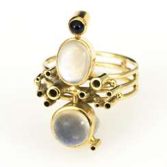 Designer ring with moonstones and sapphire