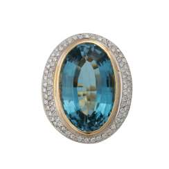 Solid ring with blue topaz approx. 30 ct