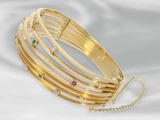 Bangle: unique vintage bangle bracelet interesting Design, with diamond and Color stones, 18K Gold, hand work