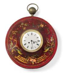 A FRENCH SCARLET, POLYCHROME AND GILT TOLE PEINTE STRIKING WALL CLOCK