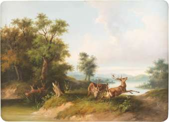 Landscape with fighting deer