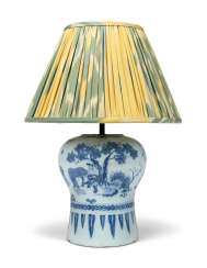 A DUTCH DELFT BLUE AND WHITE FAIENCE VASE, MOUNTED AS A LAMP