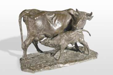 Expressive Bronze of a cow with calf