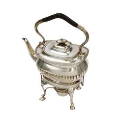 ENGLISH teapot on a chafing dish, silver plated, 20. Century