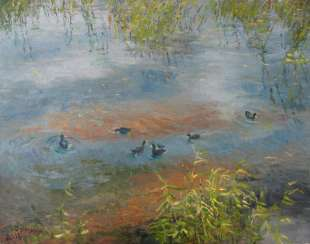Original landscape painting oil on canvas, Ducks On The Lake