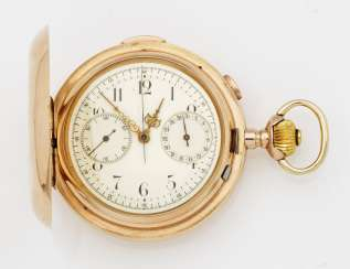 Gold hunter pocket watch chronograph with quarter repeater