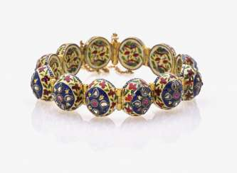 Link bracelet with rubies, rose cut diamonds and enamel