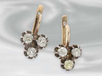 Earrings: antique earrings with Old - and cushion-cut diamonds, total approx 1.2 ct, 14K rose gold, silver