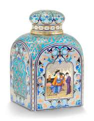 A CHAMPLEVÉ AND EN PLEIN ENAMEL SILVER-GILT TEA CADDY