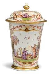 A MEISSEN PORCELAIN CHINOISERIE BEAKER AND COVER
