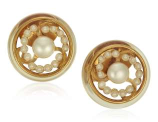 CHANEL FAUX PEARL AND LUCITE EARRINGS