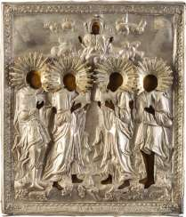 PATRONAL ICON WITH FOUR SAINTS, AND OF THE OKLAD