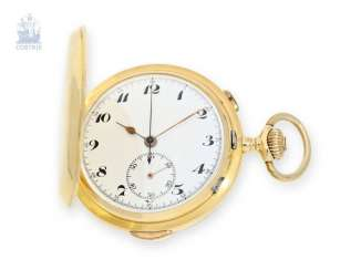 Pocket watch: big 18K Gold Savonnette with minute Repetition and Chronograph, Switzerland, around 1910