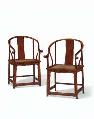 A PAIR OF HUANGHUALI HORSESHOE-BACK ARMCHAIRS, QUANYI