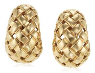 TIFFANY & CO. GOLD 'VANNERIE' EARRINGS