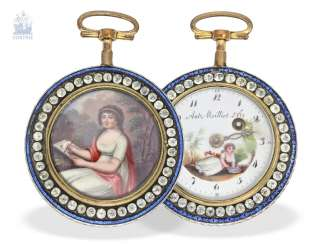 Pocket watch: large, exceptional enamel Spindeluhr with stone trim, Antoine Moillet & Cie, Geneve, No. 18482, CA. 1790