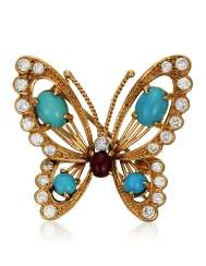 VAN CLEEF & ARPELS TURQUOISE, DIAMOND AND RUBY BUTTERFLY BROOCH