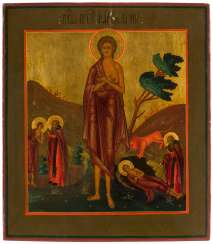 ICON OF THE HOLY MARY OF EGYPT WITH SCENES OF HER VITA Russia