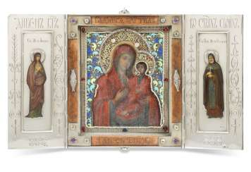 A GEM-SET, ENAMEL AND WOOD SILVER-MOUNTED TRIPTYCH ICON