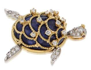 HAMMERMAN BROTHERS LAPIS LAZULI, DIAMOND AND RUBY BROOCH