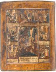 A BIG ICON WITH THE SAINT GEORGE THE DRAGON SLAYER WITH SEVEN SCENES OF HIS VITA