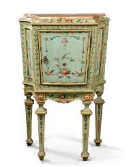 A NORTH ITALIAN FLORAL POLYCHROME DECORATED BLUE 'LACCA' COMODINO