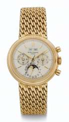 PATEK PHILIPPE, 18K GOLD, PERPETUAL CALENDAR CHRONOGRAPH WRISTWATCH WITH MOON PHASES, 24 HOUR, LEAP YEAR INDICATION AND SPECIALLY COMMISSIONED CLASP, REF. 3970/2
