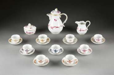 11-PIECE mocha service 'HOFDRACHE COLORFUL' German, Meissen, 20. Century and earlier