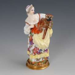 Rare bottle: lady with a pug, Meissen