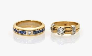 Two band ring-like rings with diamonds and sapphires
