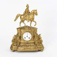 Mantle clock with equestrian statue of Kaiser Wilhelm I