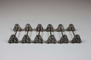 Six exhibition holder, silver hallmarked 800 half moon crown
