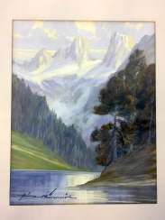 Heinz Munnich: mountain view with lake. Watercolor 1950.