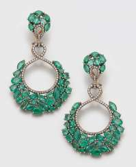 Pair of extravagant emerald drop earrings