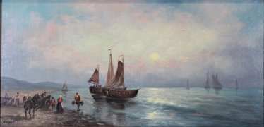 English coast with fishermen and sailing boats, 20th century