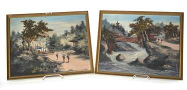 Pair of oil Paintings depicting two landscape scenes, framed