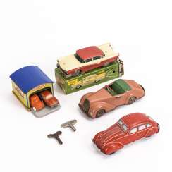 Mixed lot of 3 cars and a small penny toy garage