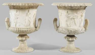 Pair of large neoclassical crater vases